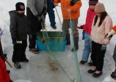 Pulling the fish net.