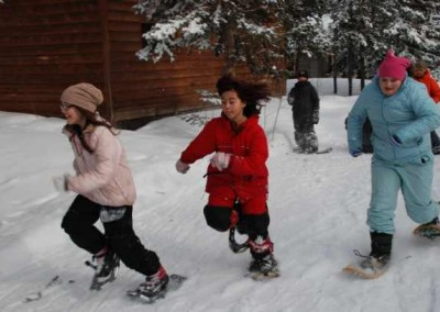 Girls snowshoe races.