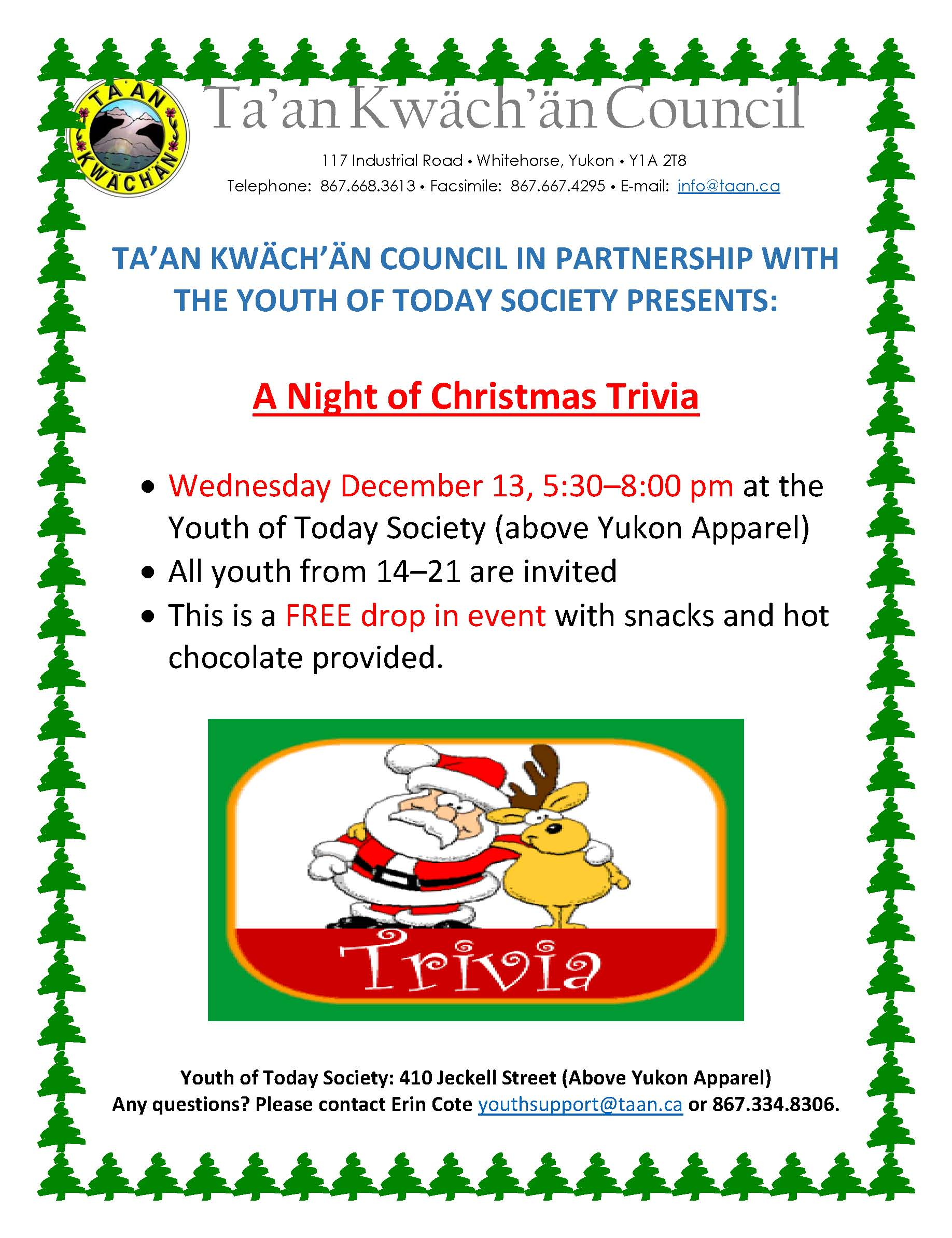 Youth Christmas trivia night   Government of the Ta\'an Kwäch\'än Council