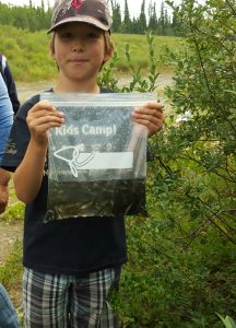 Alexander Labarge shows off the Chinook salmon fry he's about to free at Fox Creek on Sunday, July 17.