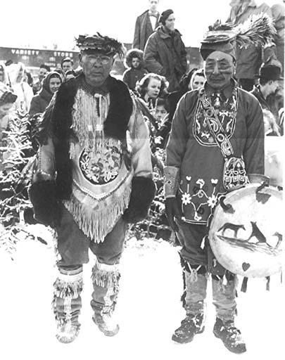 Chief Jim Boss (left) and Champagne Chief John Fraser (right), Whitehorse, 1948